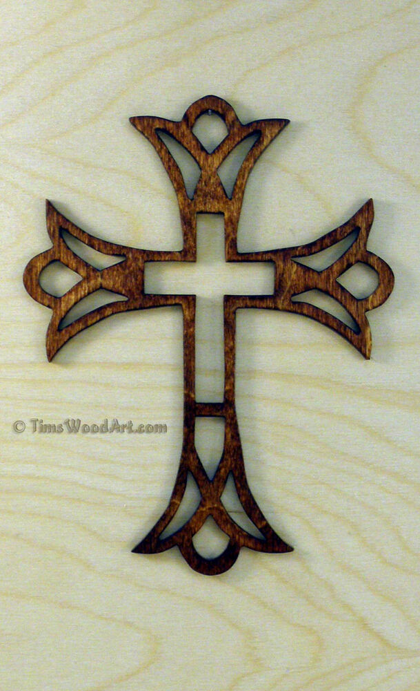 Crown fretwork wood christian cross for wall hanging or