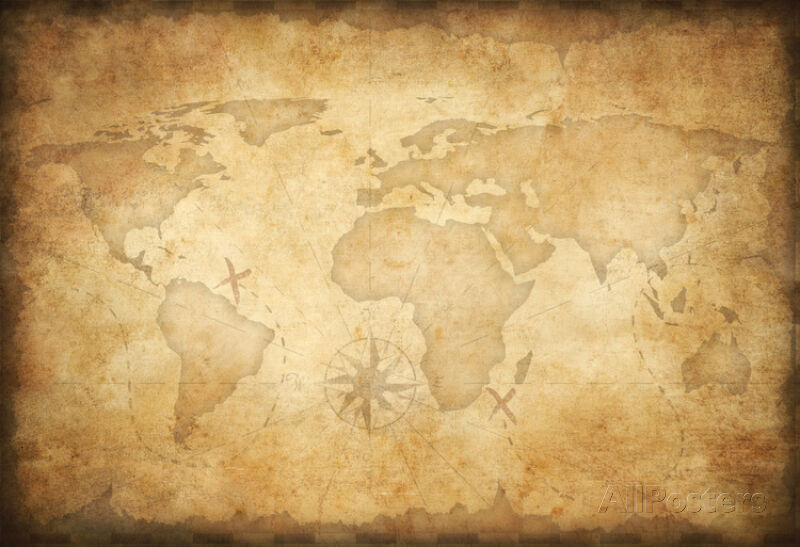 Aged Treasure Map Background Poster Print, 19x13 World Map ...