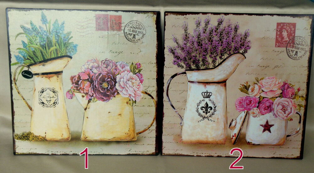 blechschild dekoschild wanddeko shabby chic nostalgie vintage lavender rosen neu ebay. Black Bedroom Furniture Sets. Home Design Ideas