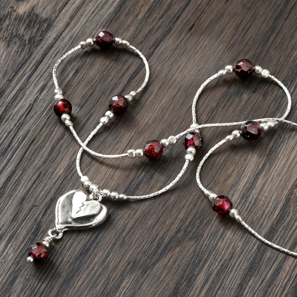 handmade jewelry 925 sterling silver necklace pendant garnet gemstone 6557