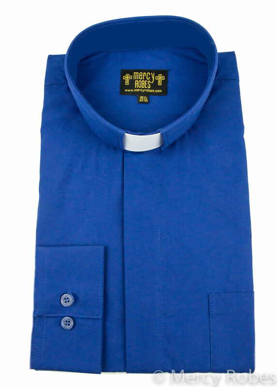 New Mens Standard Cuff Royal Blue Clergy Shirt Tab Collar
