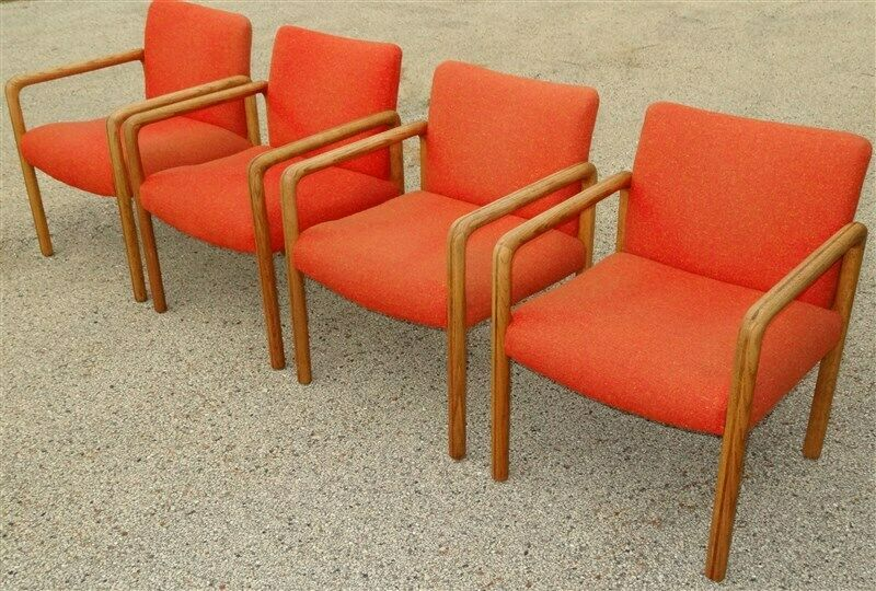 4 Orange 1970s Oak Arm Chairs Madison Furniture Umanoff