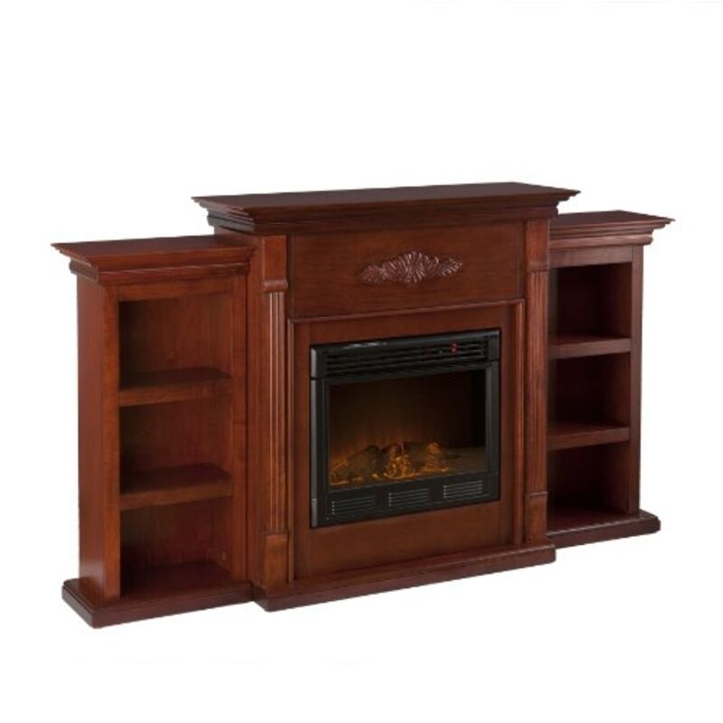 southern enterprises tennyson electric fireplace w bookcases classic mahogany ebay. Black Bedroom Furniture Sets. Home Design Ideas
