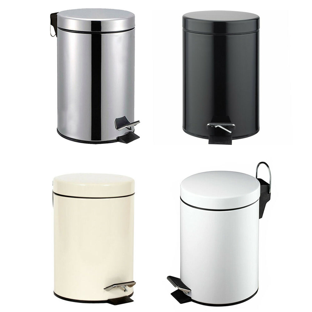 white bathroom bin 3 litre small s steel pedal bin bathroom kitchen toilet 15048