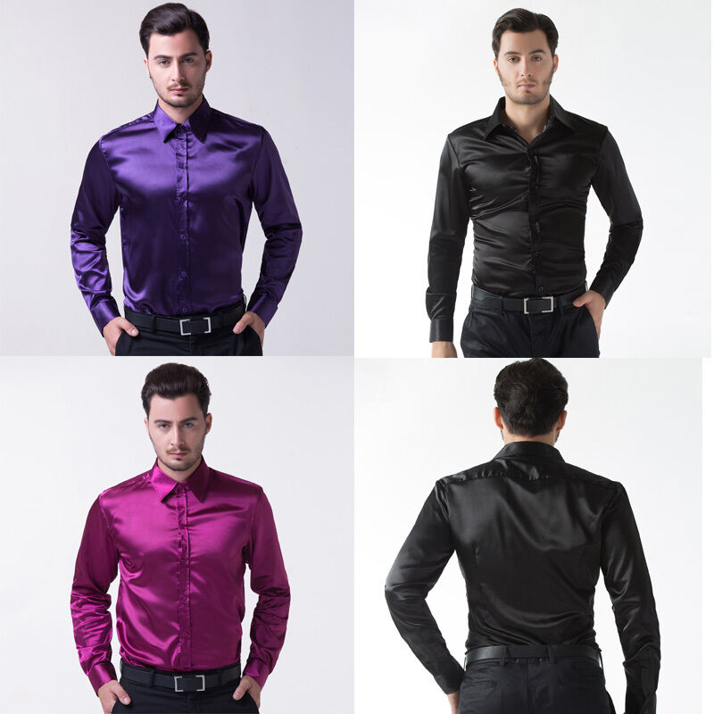 Hot Silk Satin Mens Long Sleeve Luxury Italian Style
