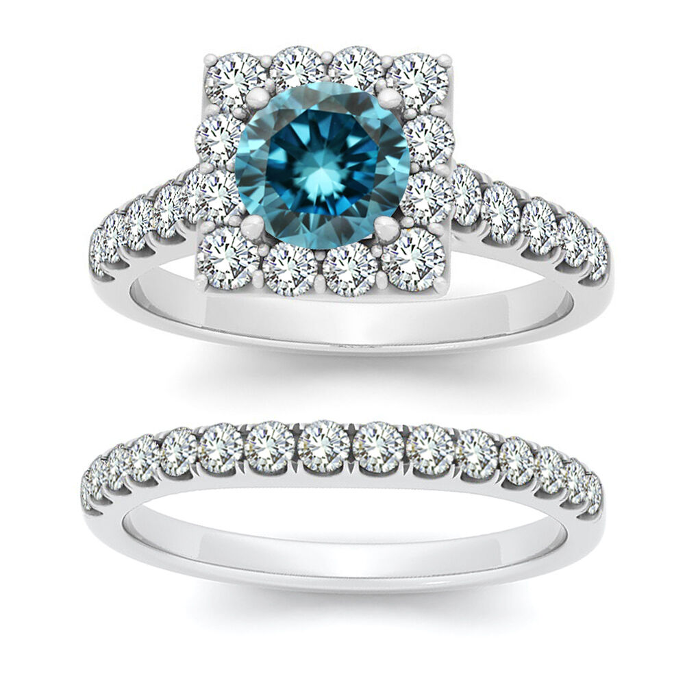 2 Carat Blue Round Diamond Halo Fancy Engagement Wedding