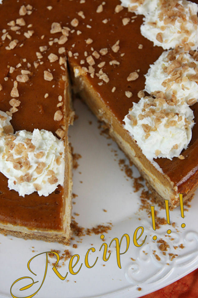 """Layered Pumpkin Pie Toffee Cheesecake """"RECIPE""""!☆The Best of Both ..."""