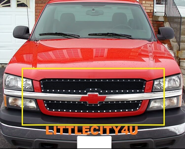 for 03 05 chevy silverado 1500 03 04 2500 hd black wire mesh rivet grille insert ebay. Black Bedroom Furniture Sets. Home Design Ideas