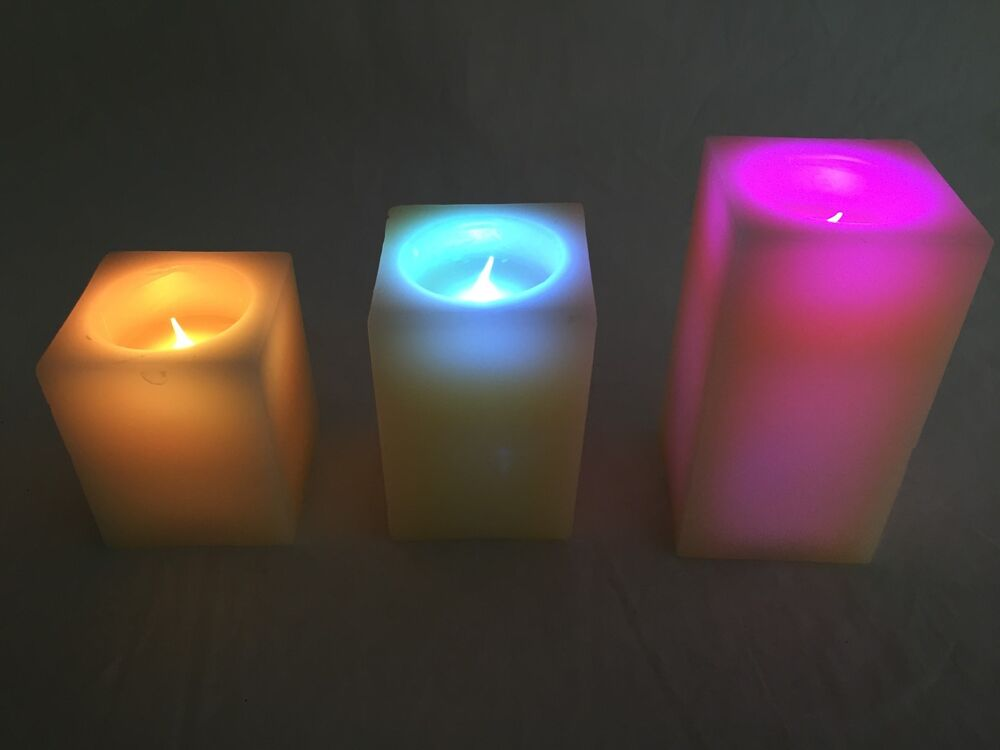 Set Of 3 Square Flameless Mulit Colored Quot Flame Quot Ivory