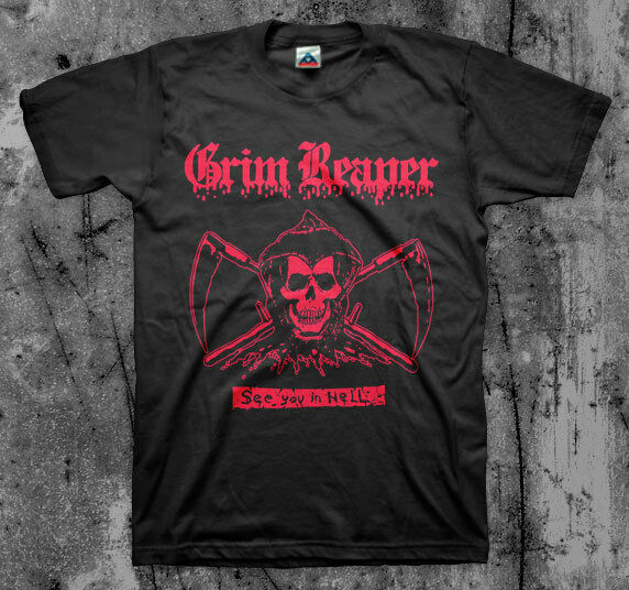 Grim reaper 39 see you in hell 39 t shirt nwobhm tank venom for Thrash and burn shirt