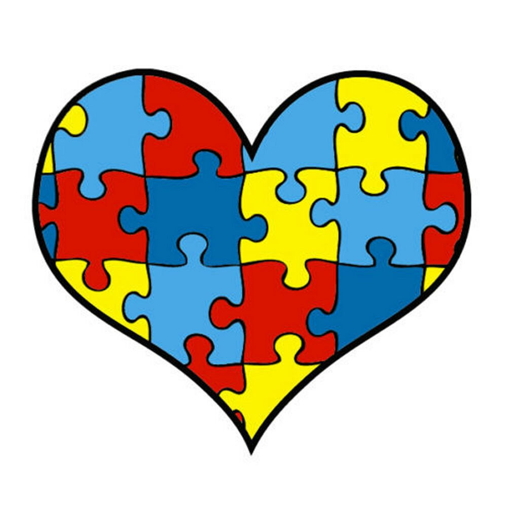 Lot 12 Autism Awareness Heart Puzzle Piece Temporary