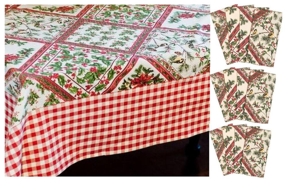 April cornell holiday christmas holly berry bird for 12 days of christmas table cloth