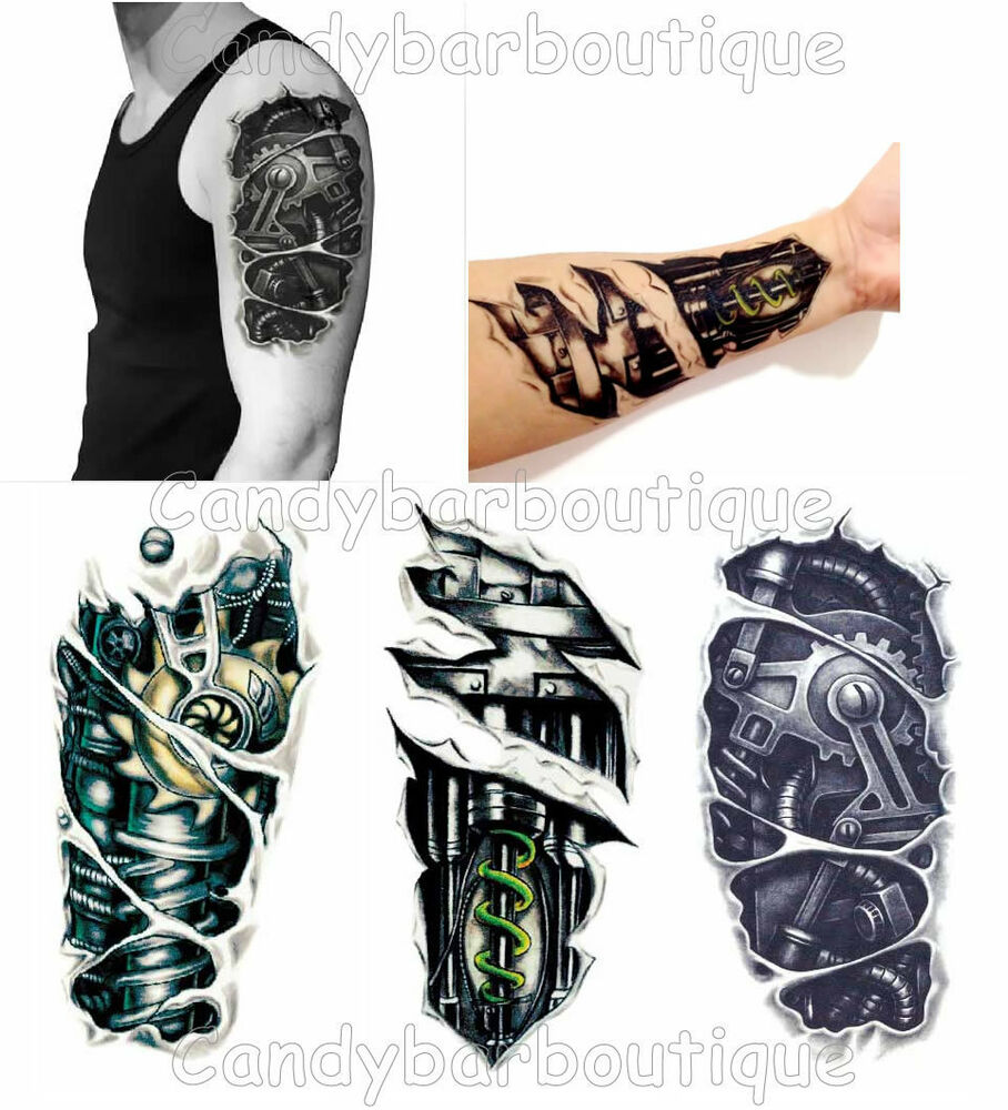 new terminator mechanical robot arm metallic 3d temporary tattoos fine detail ebay. Black Bedroom Furniture Sets. Home Design Ideas