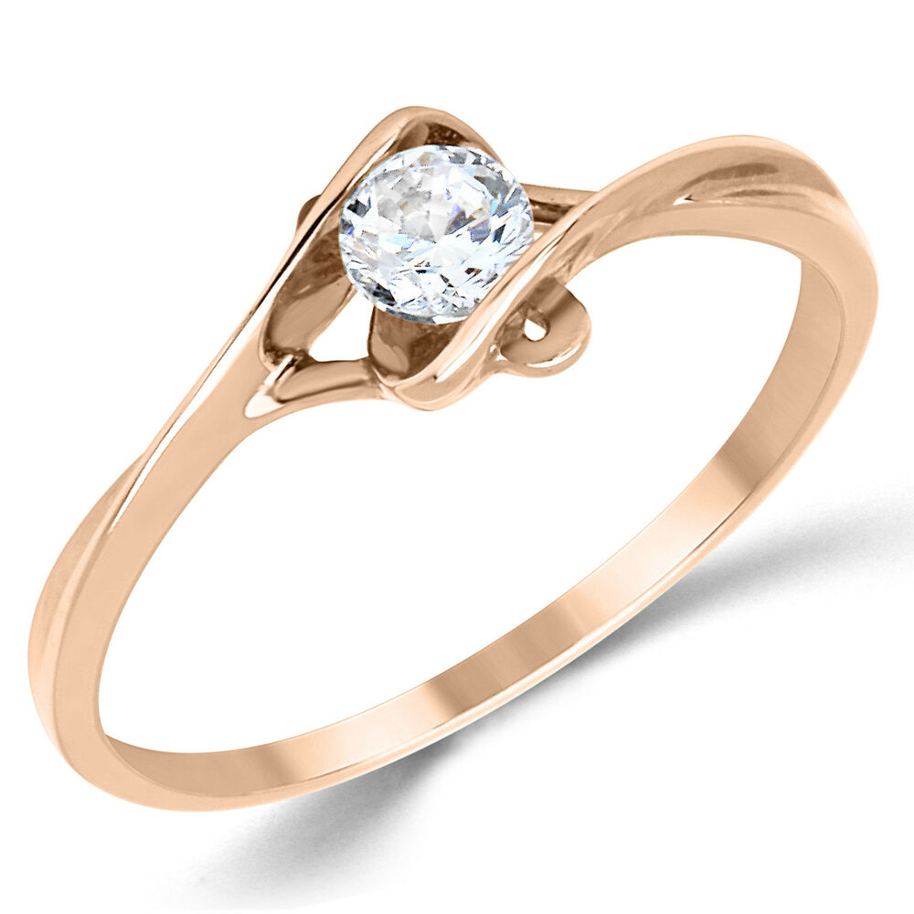 14K Solid Rose Gold CZ Cubic Zirconia Solitaire Engagement Promise Ring EBay