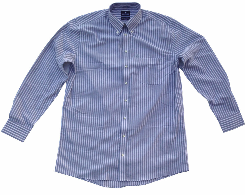 Stafford travel wrinkle free stripe long sleeve Best wrinkle free dress shirts