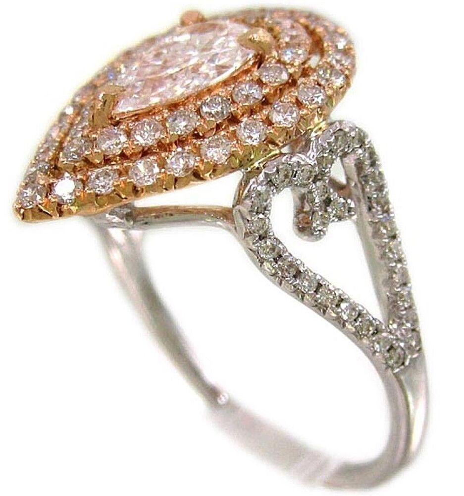 18K WHITE AND ROSE GOLD PEAR SHAPE DIAMOND ENGAGEMENT RING ART DECO 1 20CTW