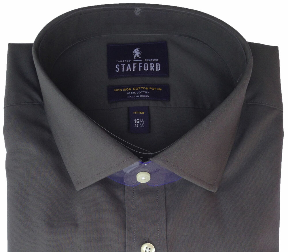Stafford tailored culture men 39 s non iron cotton poplin for Stafford dress shirts fitted