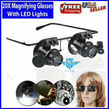 20X Magnifying Magnifier Glasses Magnifaction Jeweler Watch Repair LED Light NEW