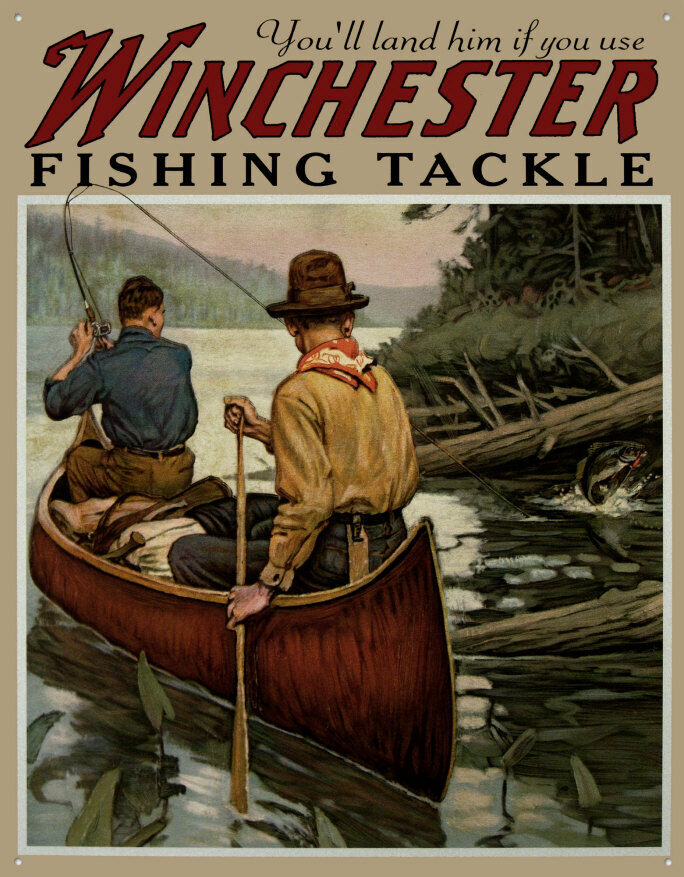 Winchester fishing tackle tin sign ebay for Vintage fishing tackle