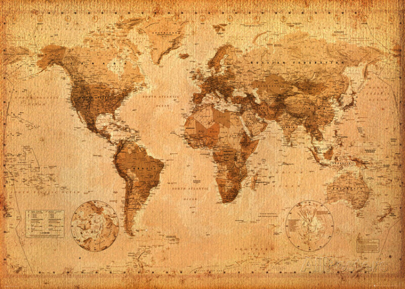 world map antique giant poster print 55x39 world map. Black Bedroom Furniture Sets. Home Design Ideas
