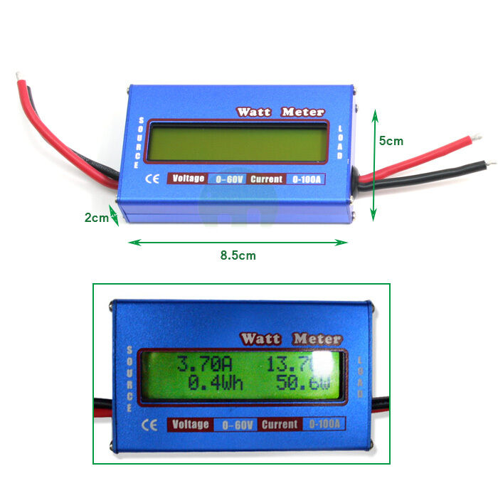 Watt Meter Inline: WATT METER LCD 60V 100A Voltage DC Power Analyzer Watt