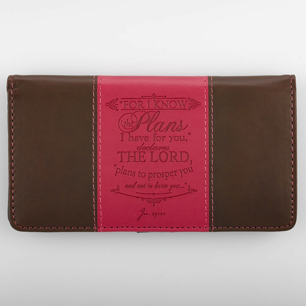 checkbook cover for i know the plans i have for you pink