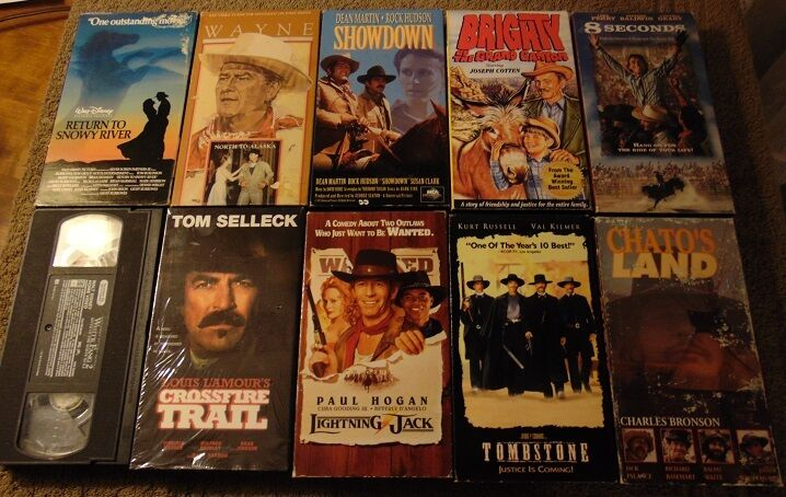 lot of 10 western vhs tapes tom selleck kurt russell