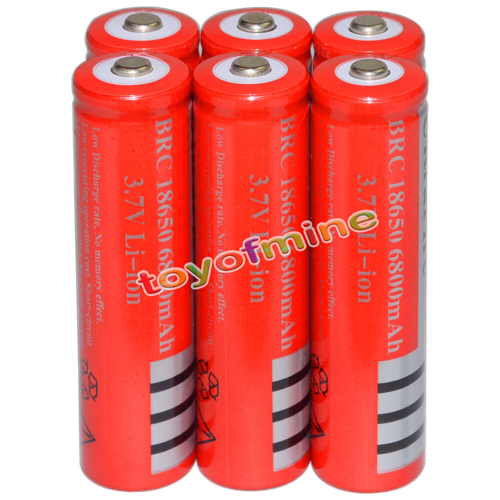 6 18650 6800mah 3 7v li ion rechargeable battery cell flashlight ebay. Black Bedroom Furniture Sets. Home Design Ideas