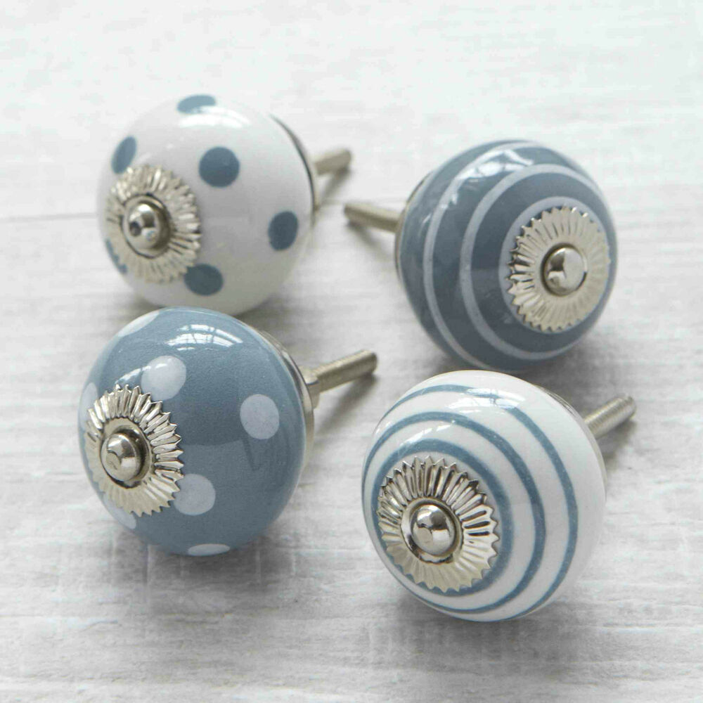Grey spots stripes ceramic cupboard door knob drawer for Small door knobs and handles