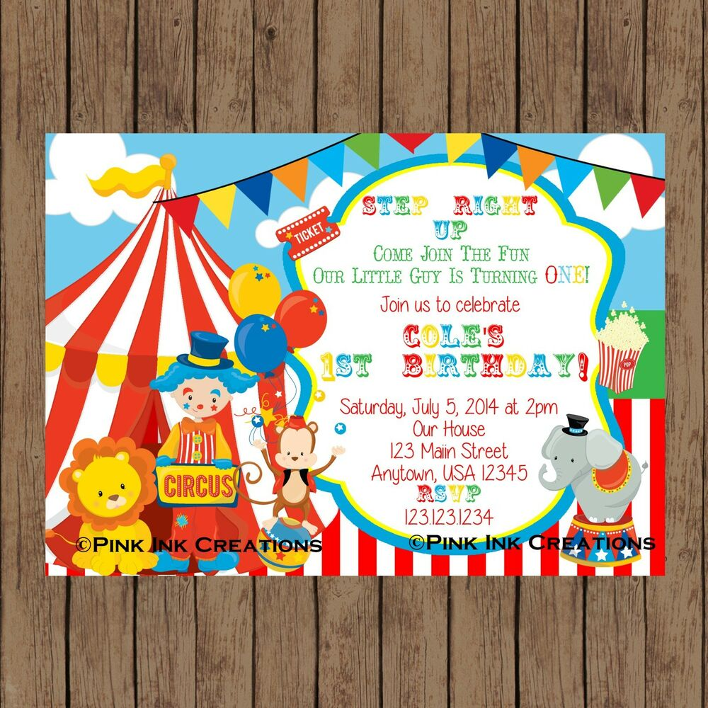 circus birthday invitation circus baby shower invite printable