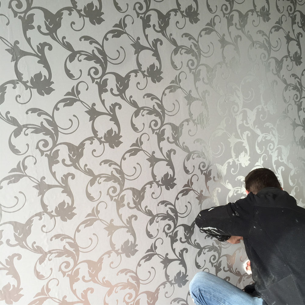 victorian damask 3d feature wallpaper roll silver and. Black Bedroom Furniture Sets. Home Design Ideas