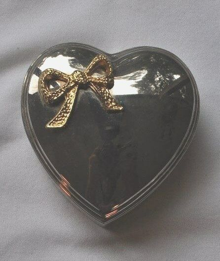 Silver plated heart trinket box jewelry ring box holder ebay for Heart ring box
