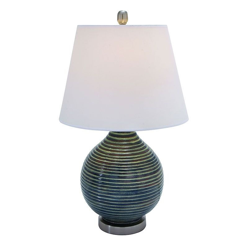 blue round ceramic table lamp lamps with white shade 26 um95792. Black Bedroom Furniture Sets. Home Design Ideas