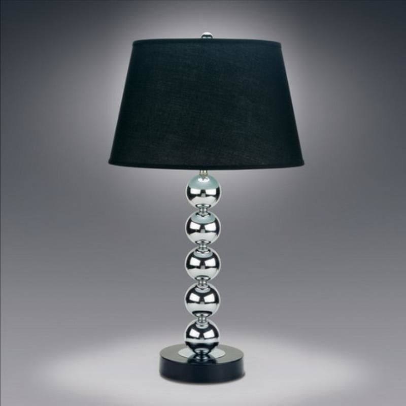 Metal Chrome Stacked Ball Table Lamp Lamps With Black