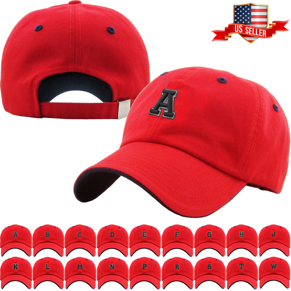 Details about ABC Letter Embroidery INITIAL Red Dad Hat Baseball Cap  Adjustable f164760207ba
