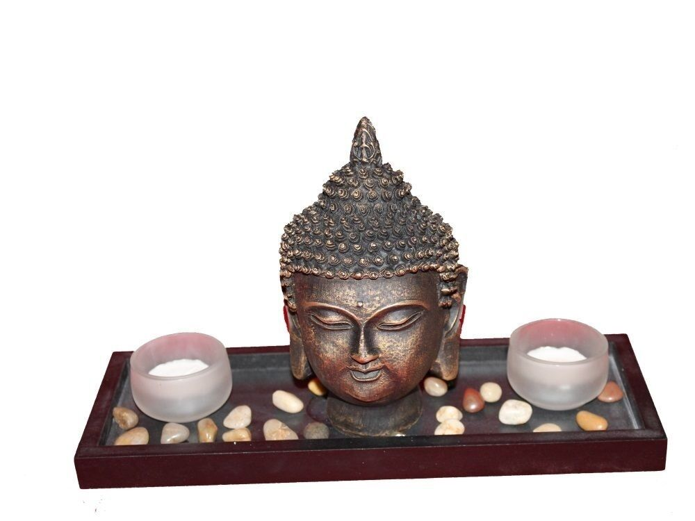 buddha figur skulptur statue asia feng shui steine deko teelichthalter ebay. Black Bedroom Furniture Sets. Home Design Ideas