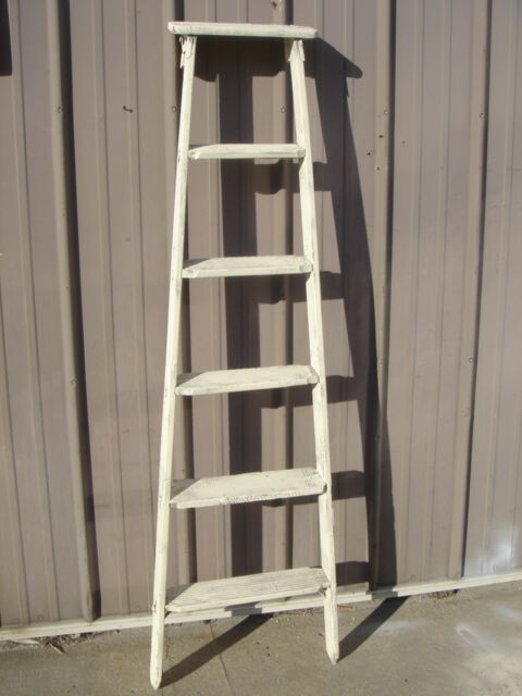 Vintage Wooden 6 Step Ladder Shelf - These Ladders Lean to ...