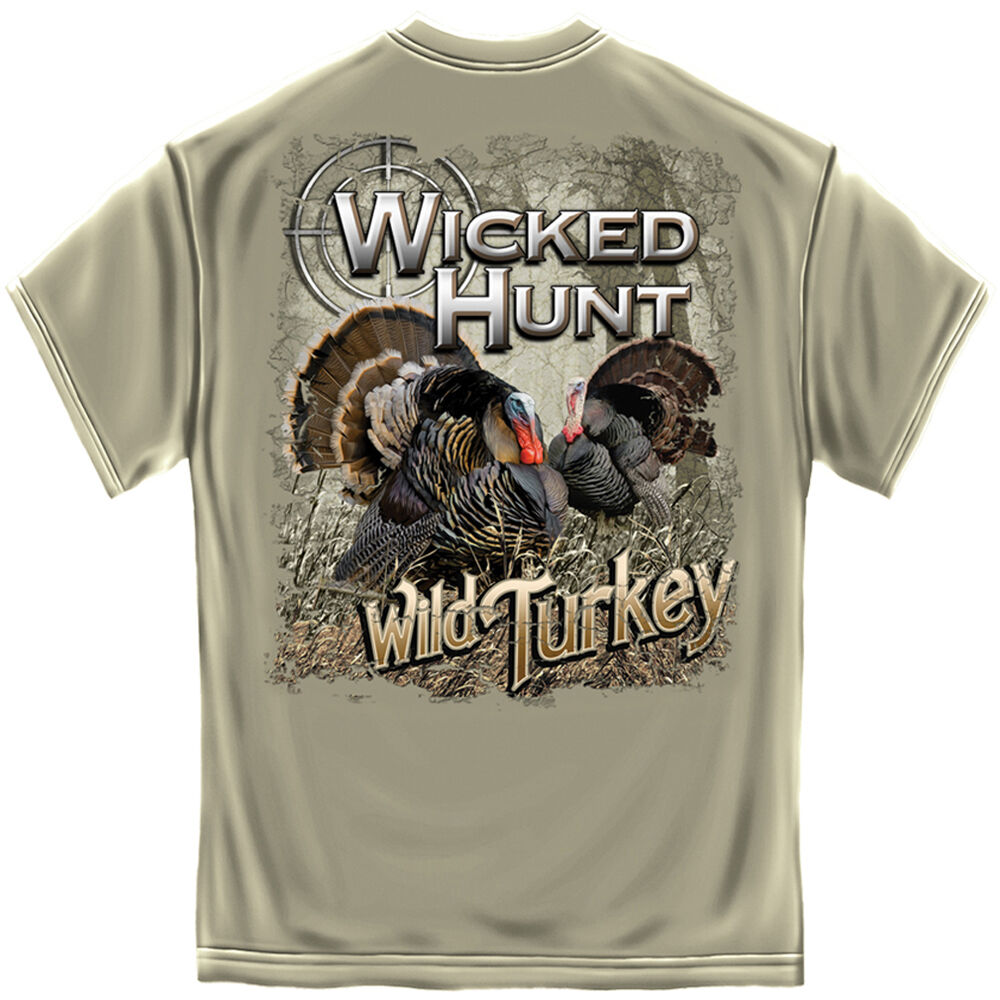 New wild turkey t shirt wicked hunt hunting shirt ebay for Walmart fishing shirts
