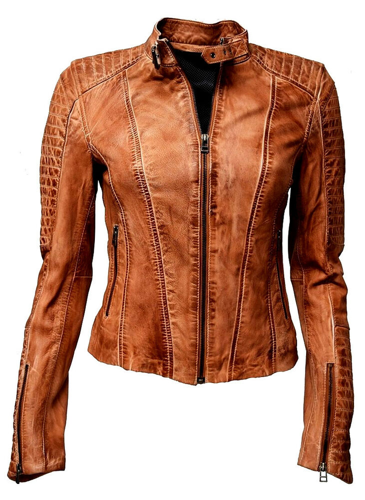 damen lederjacke biker lammnappa leder extrem gesteppt stehkragen cognac braun ebay. Black Bedroom Furniture Sets. Home Design Ideas