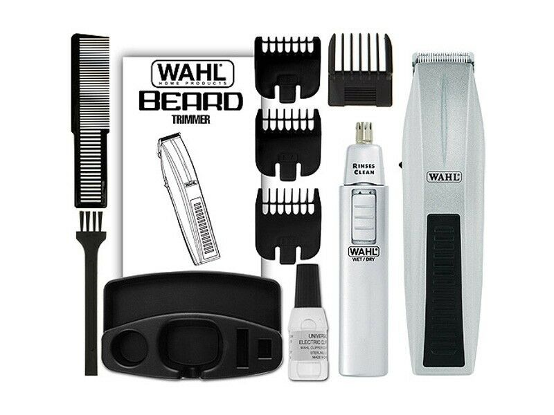 wahl 5537 420 12 pieces mustache beard nose battery operated travel trimmer set ebay. Black Bedroom Furniture Sets. Home Design Ideas