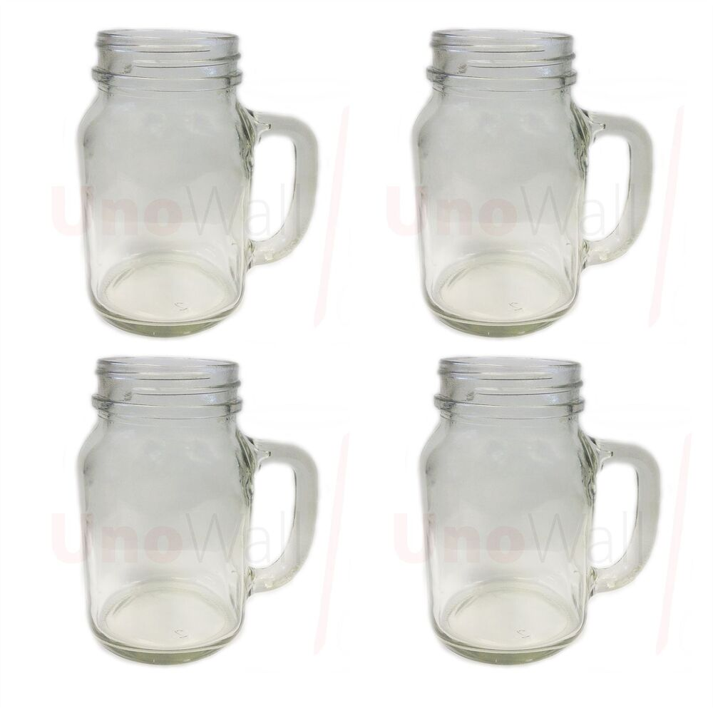 set of 4 mason glass drinking jars with handles without. Black Bedroom Furniture Sets. Home Design Ideas
