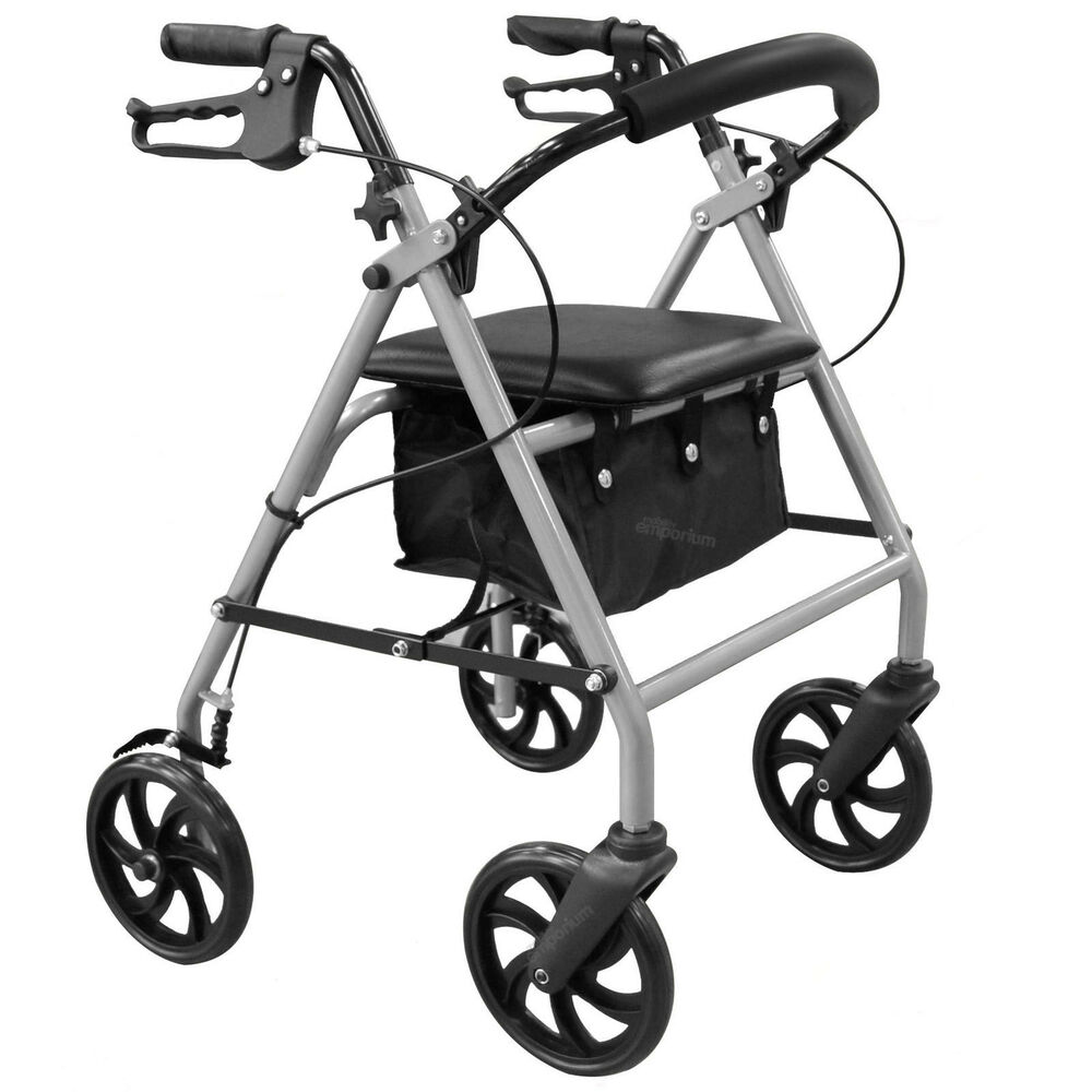 Lightweight folding rollator 4 wheel walker mobility for Mobility walker