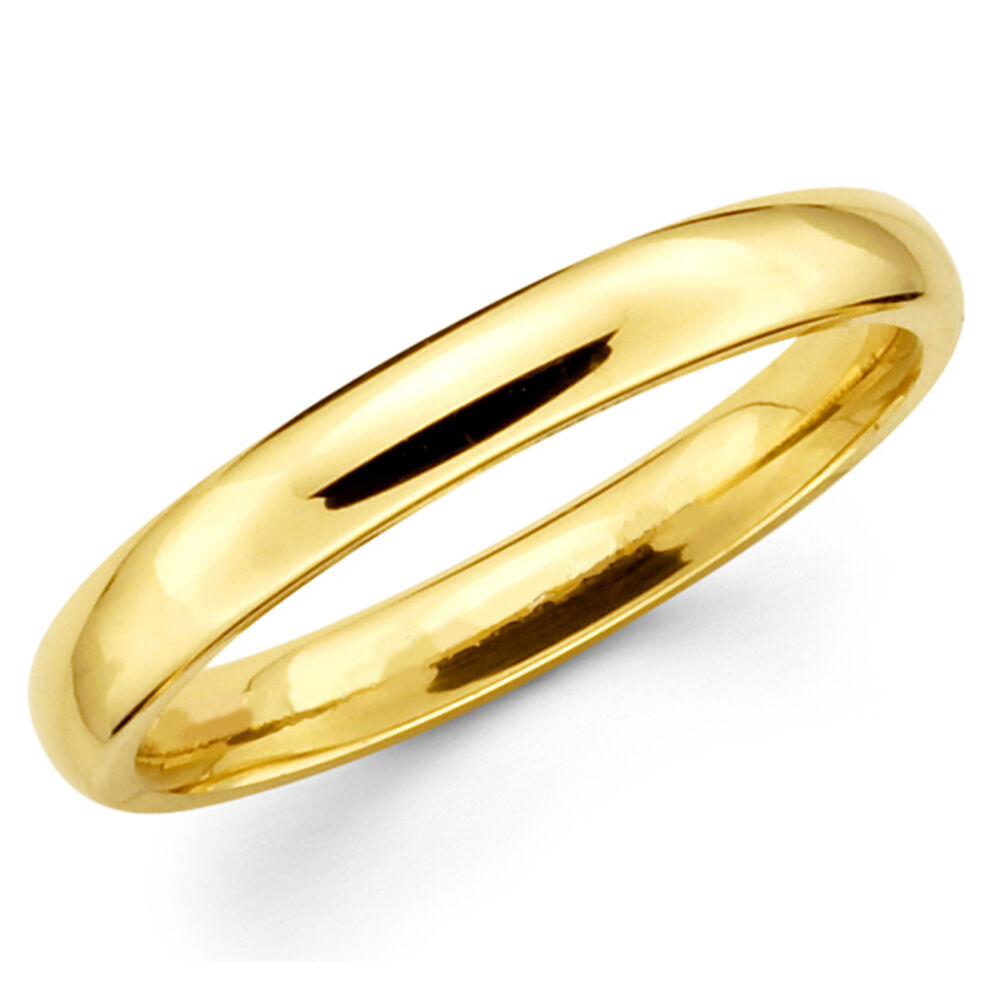 14k Solid Yellow Gold 3mm Plain Men S And Women S Wedding