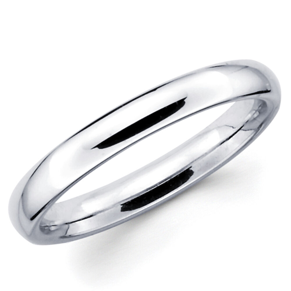 14K Solid White Gold 3mm Plain Mens And Womens Wedding Band Ring