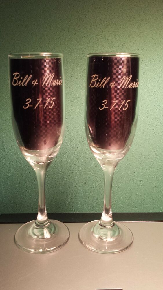 Wedding Present Champagne Glasses : ... Wedding Glasses - Engraved Champagne Wine Toasting Flutes - Gift