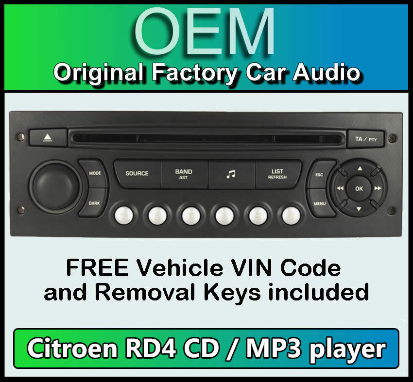 citroen c4 picasso car stereo mp3 cd player citroen rd4 radio free vin code ebay. Black Bedroom Furniture Sets. Home Design Ideas