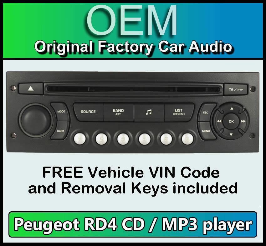 peugeot expert car stereo mp3 cd player peugeot rd4 radio free vin code ebay. Black Bedroom Furniture Sets. Home Design Ideas