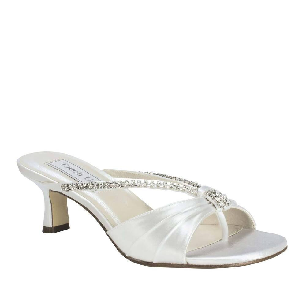White Satin Kitten Heel Shoes