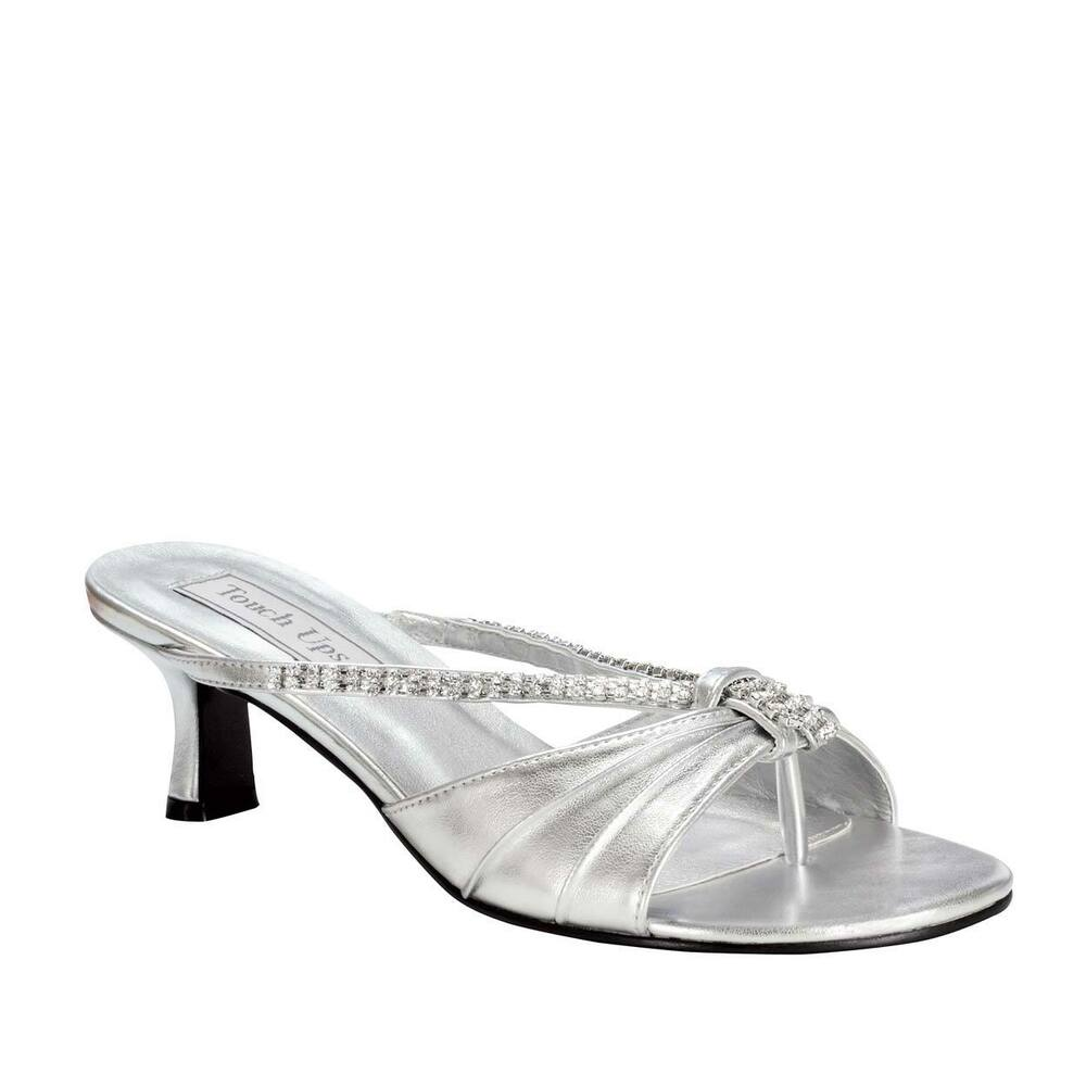 Bridal Shoes Silver: Womens Silver Rhinestone Phoebe Kitten Heel Sandal Formal