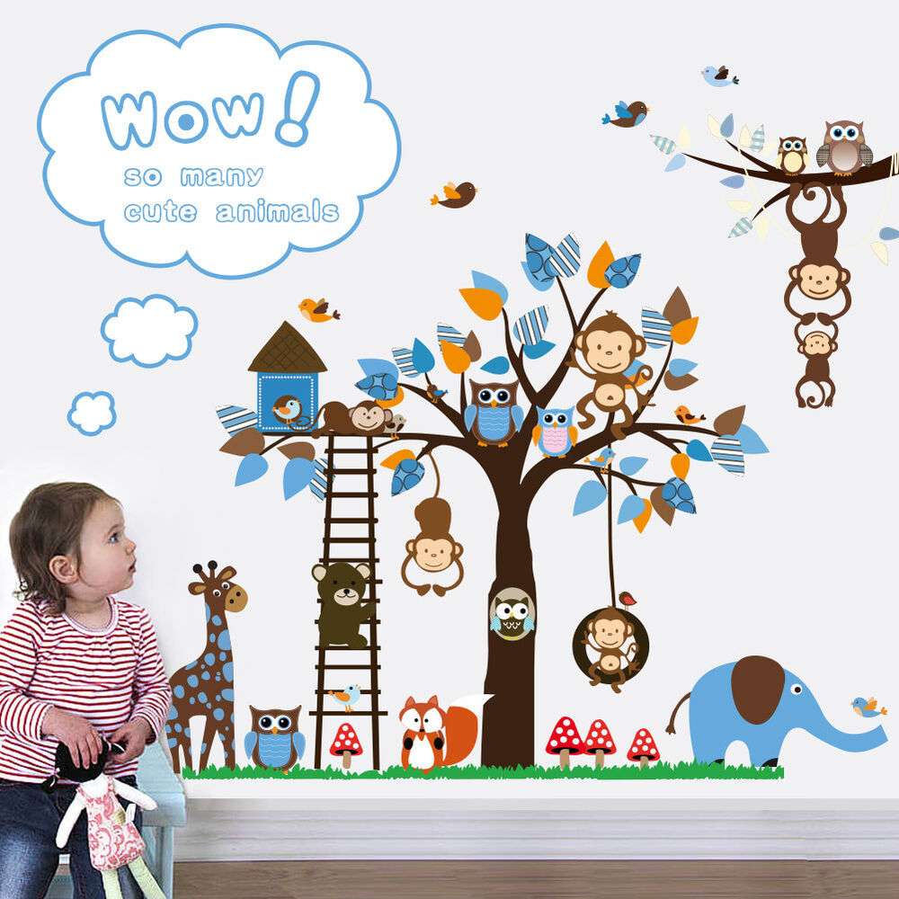 wandtattoo wald kinderzimmer spielzimmer wandbild tiere fuchs affen giraffe 62 ebay. Black Bedroom Furniture Sets. Home Design Ideas